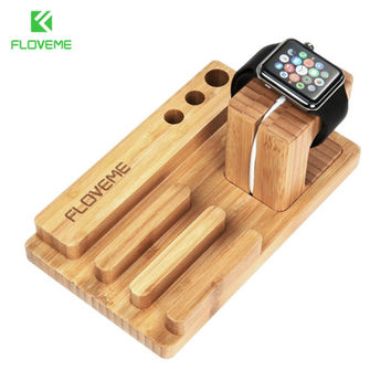 FLOVEME Charging Dock Phone Holder For iPhone 7 6 6S Plus 5 5S SE Stand Holder For Apple Watch Phone Stand Bracket Wood Stents