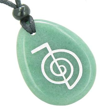 Tibetan Life Energy Power ChoKu Ray Reiki Good Luck Amulet Green Aventurine Totem Stone Necklace