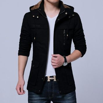 Elegant Cotton Thick Solid Hooded Jacket