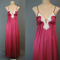 Burgundy Sexy Plunging Negligee Nightgown with Lace Trim - fits 34 inch bust - Vintage 1980s
