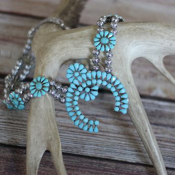 Rodeo Ready Squash Blossom Turquoise Fashion Necklace
