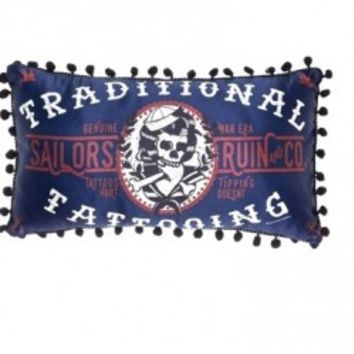 Sourpuss brings you a bit of Americana with the Sailor's Ruin and Co. traditional tattoo pillow in deep red, white and navy blue satin. Its pom pom trim and small, rectangular shape make this a unique little accent piece for your living room.
