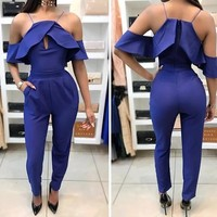 Blue Ruffle Spaghetti Strap Off-Shoulder Long Jumpsuit