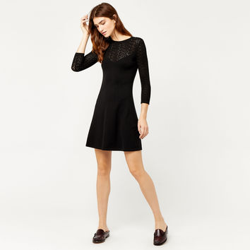 PRETTY STITCH YOKE KNIT DRESS