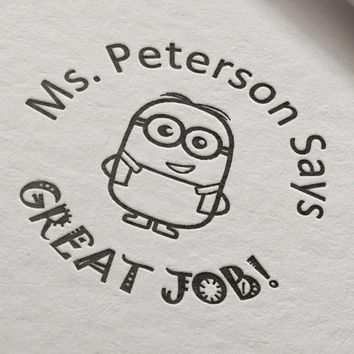 Minions Great Job Teacher Stamp personalized custom name stamp self inking  for gift school assessment