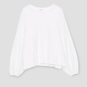 Puff-sleeve T-shirt - Long sleeves - T-shirts - Clothing - Woman - PULL&BEAR United Kingdom