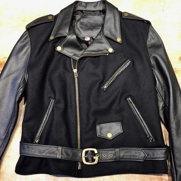 Classic Lambskin Leather/Wool Biker Jacket