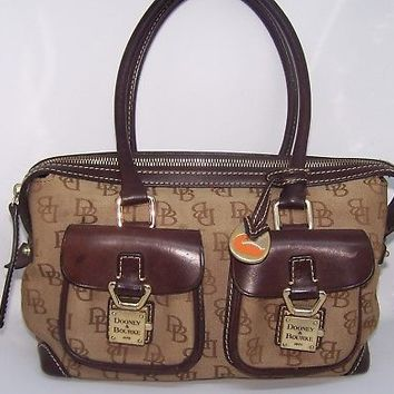 Dooney Bourke signature satchel handbag purse brown leather trim