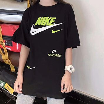 """Nike"" Unisex Vintage Sport Casual Letter Logo Print Couple Short Sleeve T-shirt Top Tee"