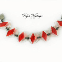 Unique Vintage Translucent / Red Plastic Linked Bracelet, 1940's Costume Jewelry Jewellery