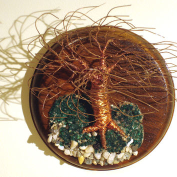 Wind Swept on Round Base Wall Art Wire Tree Sculpture