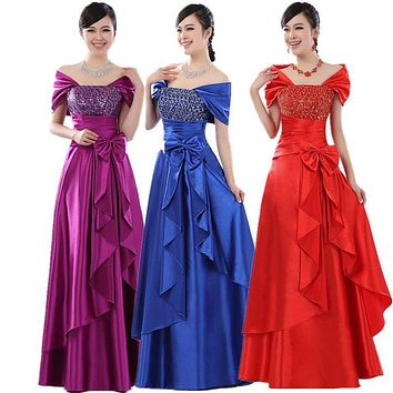 2017 autumn summer plus size gold purple party dress Long formal graduation dress clothes banquet prom gold Evening dress