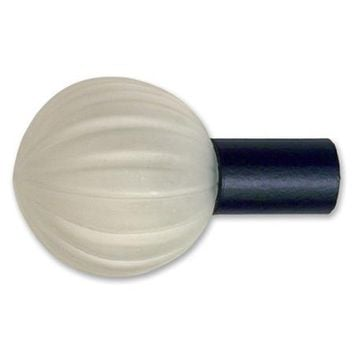 Eclectic Collection Fluted Glass Orb Finial (1 Inch Rod)