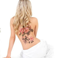 Large po Large peony flowers waterproof temporary tattoos Shoulder Lower Back Leg temporary tattoos sticker sexy wome