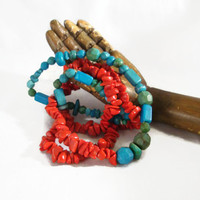 Long Turquoise and Red Beaded Southwestern Handmade Necklace