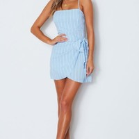 Level Up Mini Dress Blue Stripe
