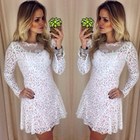 White lace skirt long-sleeved dress VD1117CI