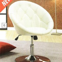 A.M.B. Furniture & Design :: Living room furniture :: Accent chairs :: Cream leather like vinyl scoop chair with button tufted styling and chrome metal base with adjustable height