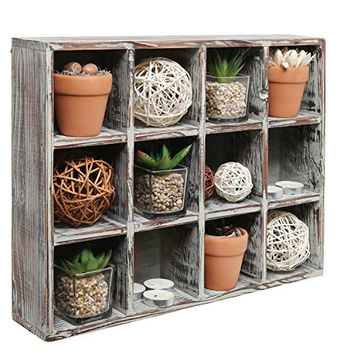 Freestanding Dark Brown Wood Shelf Rack / Wall Mounted 12 Compartment Shadow Box / Display Shelving Unit