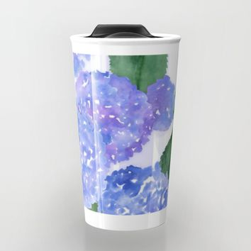 Hydrangeas and Stripes Travel Mug by Noonday Design