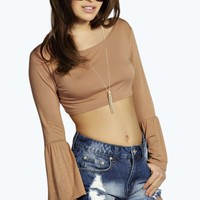 Petite Kitty Fluted Sleeve Crop Top