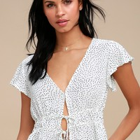 Hit The Spot White Polka Dot Top