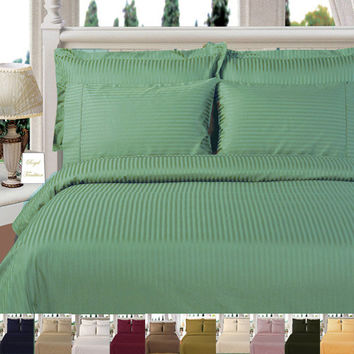 Striped Duvet Cover Set 600 Thread Count 100% Egyptian Cotton