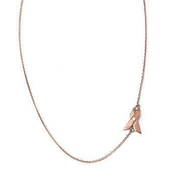 Cheryl M Sterling Silver Rose Gold-Plated Awareness Ribbon Necklace