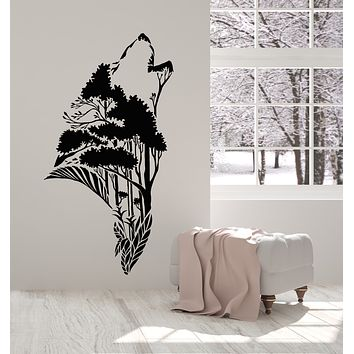 Vinyl Wall Decal Wolf Head Silhouette Abstract Nature Tree Forest Stickers Mural (g1474)
