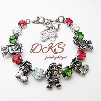 Jolly Old Elf, Swarovski Crystal Holiday Bracelet, Christmas, Red, Green, Santa, DKSJewelrydesigns, FREE SHIPPING