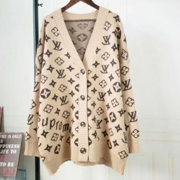 LV Louis Vuitton Trending Women Stylish Long Sleeve V Collar Sweater Knit Cardigan Jacket Coat Khaki