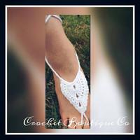 Angel Wings Barefoot Crochet  Sandals, Yoga shoes, Beach Wedding Sandals