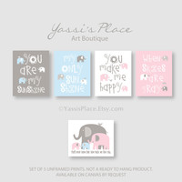 Twin Wall Art You Are My Sunshine - Blue, Pink and Gray Nursery Decor, 5 Art Prints, Elephant and bird, baby shower gift, Playroom art