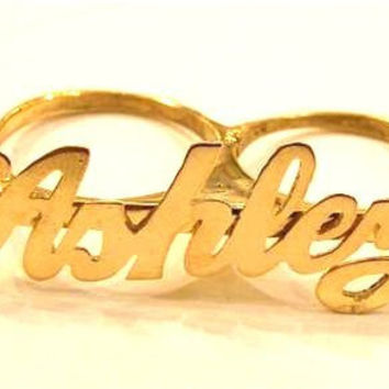 Personalized 14k Gold Overlay Any Name 2 Finger Ring/two Finger Name Ring/a