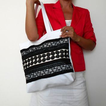 Black and White Tote Bag, Canvas Tote Bag, Black Lace Bag, White Tote Bag, Everyday Bag, Canvas Shoulder Bag, Summer Bag