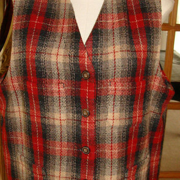 Eddie Bauer Womens Wool Vest Vintage NICE Plaid Fall Winter Button XL Legands
