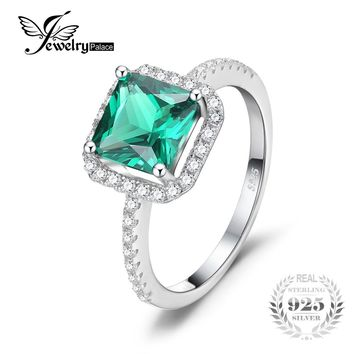 JewelryPalace Square 1.8ct Created Emerald 925 Sterling Silver Ring Fine Jewelry for Women New Brand Fashion Accessories Ring