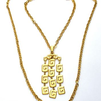 Crown Trifari Gold Greek Key Necklace Vintage