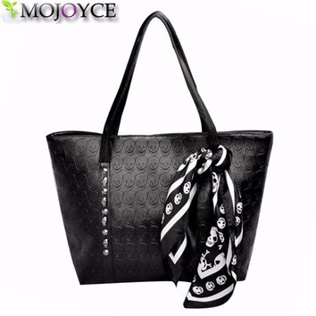 AC 2018 Hot PU Leather Women Skull Bag Female Solid Punk Shoulder Bag Fashion Soft Women Handbags Black Large Ladies Tote Bag