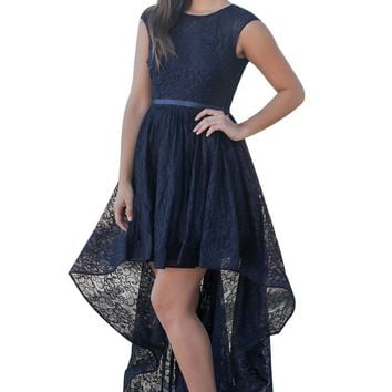 Navy Sweetheart Cutout Back Lace Hi-low Dress