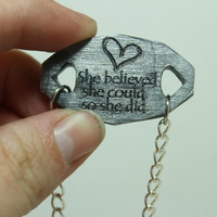 Mantra bracelet She believed she could, so she did Quote Silver polymer clay