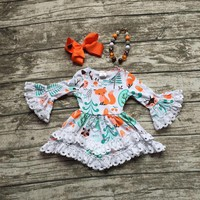Girls Fox Printed Lace Ruffle Dress with Matching accessories