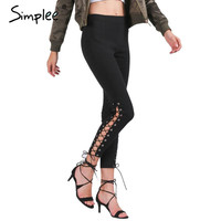 Simplee Summer pants capris jeggings 2016 autumn winter Sexy lace up trousers women bottom Zipper elastic pants female tights
