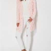 Coral Marled Open-Front Cardigan