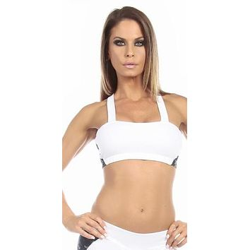 Sexy Seaman Criss Cross Athletic Navy Blue Sports Bra Top - White/Blue