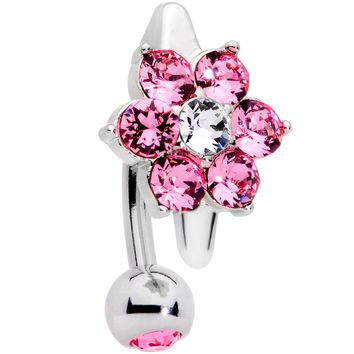 Pink Clear CZ Gem Pretty Posy Top Mount Belly Ring