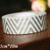 Washi Tape Roll - Silver Zigzag Chevron 10meters WT671