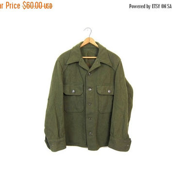 Thick Wool Army Shirt Authentic Military 50s Drab Olive Button Up 1950s Jacket Military Commando Cargo Oversize Vintage Mens Medium