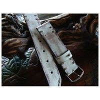 Vintage watch strap, hand made leather strap, white watch band