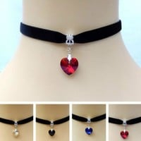 Heart Crystal Victorian Choker Necklace Goth Vintage Gothic Velvet Chokers Multi Color Pendant Chocker For Women Jewelry